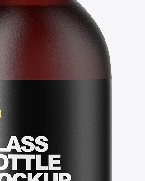 Frosted Dark Amber Glass Oil Bottle Mockup