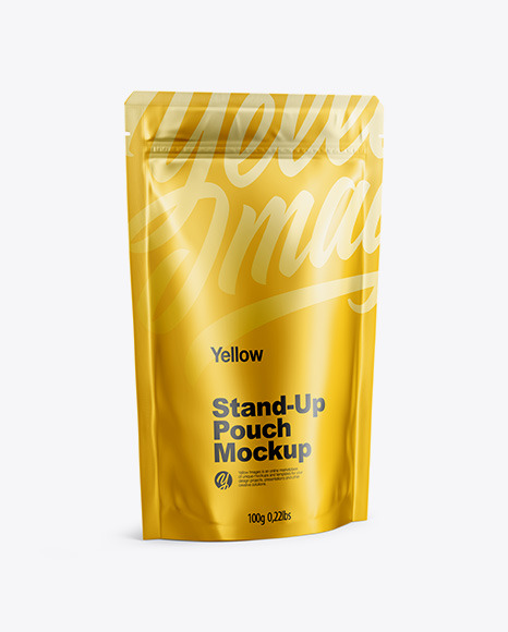 Matte Metallic Stand Up Pouch with Zipper Mockup - Half Side View