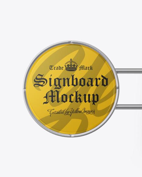 Matte Metallic Round Signboard Mockup
