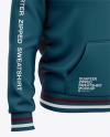 Three Quarter Zipped Sweatshirt Mockup - Front Half Side View Of Pullover