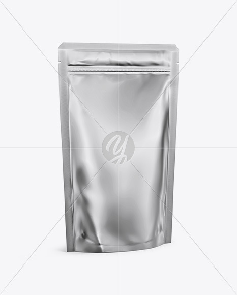 Metallic Stand Up Pouch with Zipper Mockup - Half Side View