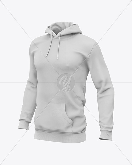 Download Mens Heavyweight Heather Hoodie Mockup Right Half Side View Yellow Images