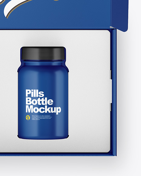 Opened Box with Pills Bottle Mockup
