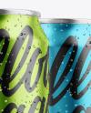 Three Glossy Metallic Cans Mockup