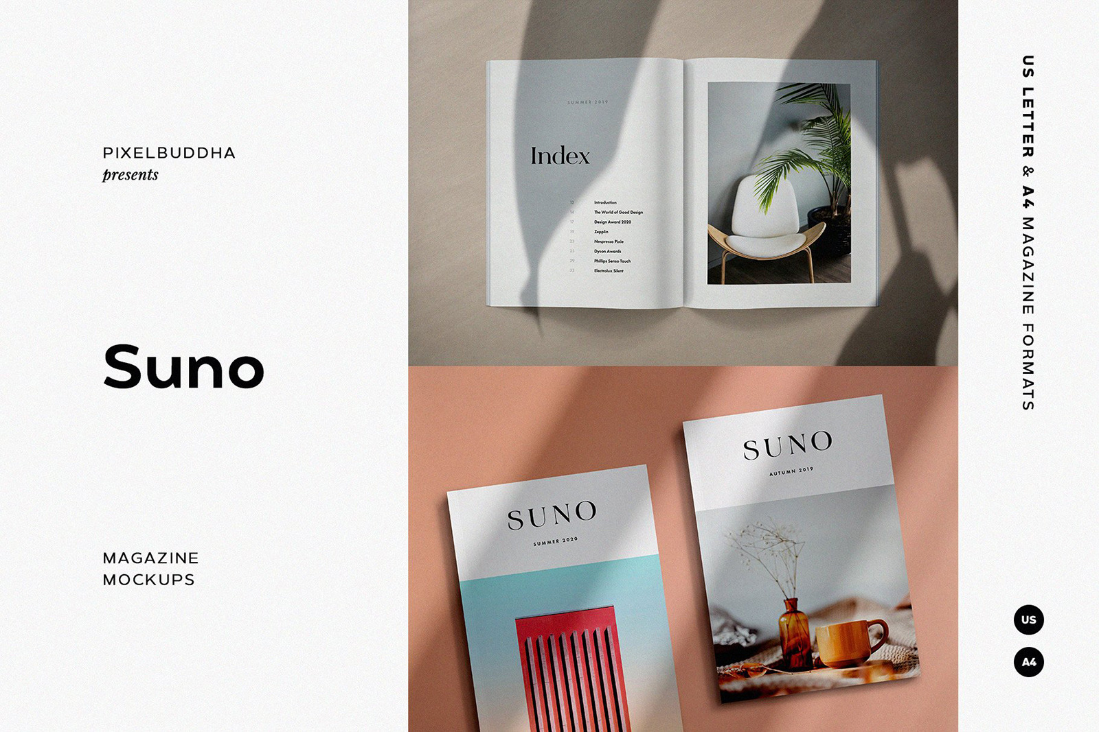 Suno Magazine Mockup Kit In Stationery Mockups On Yellow