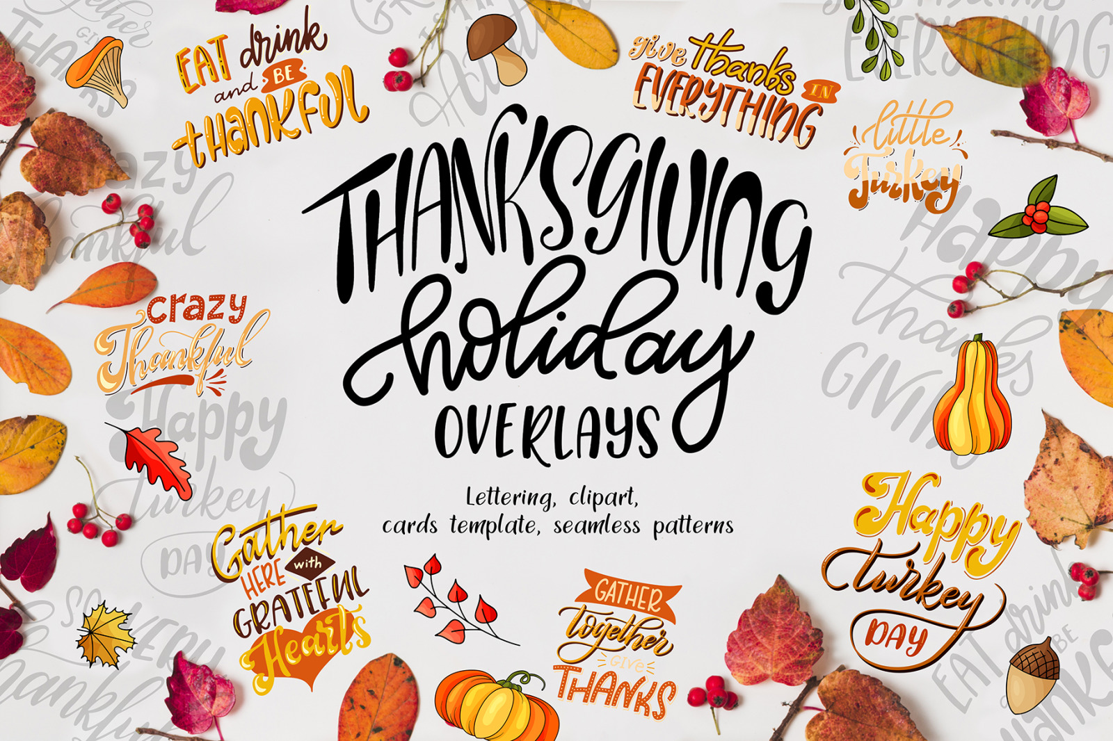 Thanksgiving holiday overlay+clipart