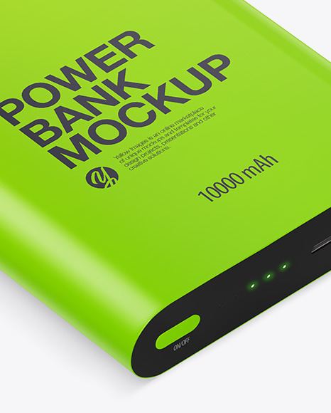 Glossy Power Bank Mockup - Front View