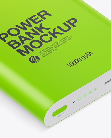 Glossy Power Bank Mockup - Front View