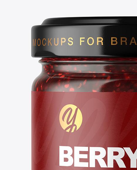 Clear Glass Jar with Raspberry Jam Mockup
