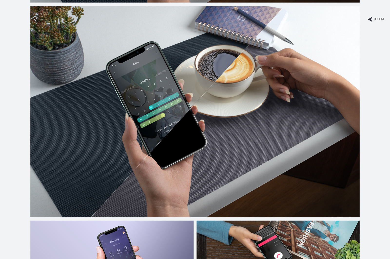 iPhone 11 Pro Display Mockups - Pack of 71