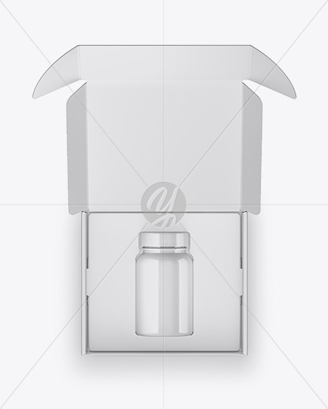 Opened Glossy Box with Pills Bottle Mockup