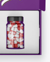 Opened Textured Box with Pills Bottle Mockup