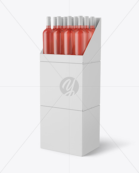 Stand with Pink Wine Bottles Mockup