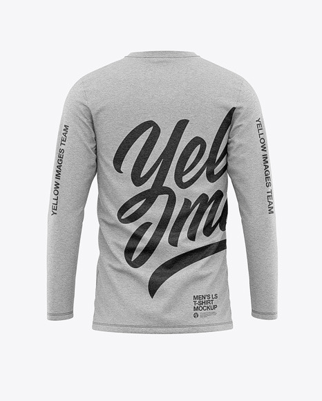 Men's Heather Long Sleeve T-Shirt Mockup - Back View