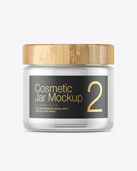 Clear Glass Cosmetic Jar Mockup