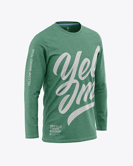 Men's Heather Long Sleeve T-Shirt Mockup - Front Half-Side View