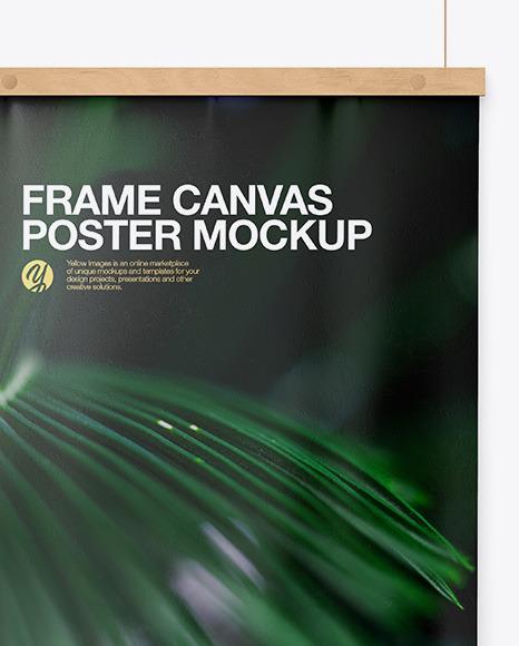 Wooden Frame Canvas Poster Mockup