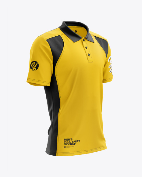 Men's Club Polo Shirt mockup (Right Half Side View)