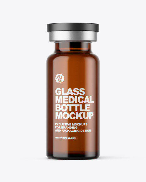 Amber Glass Medical Bottle Mockup