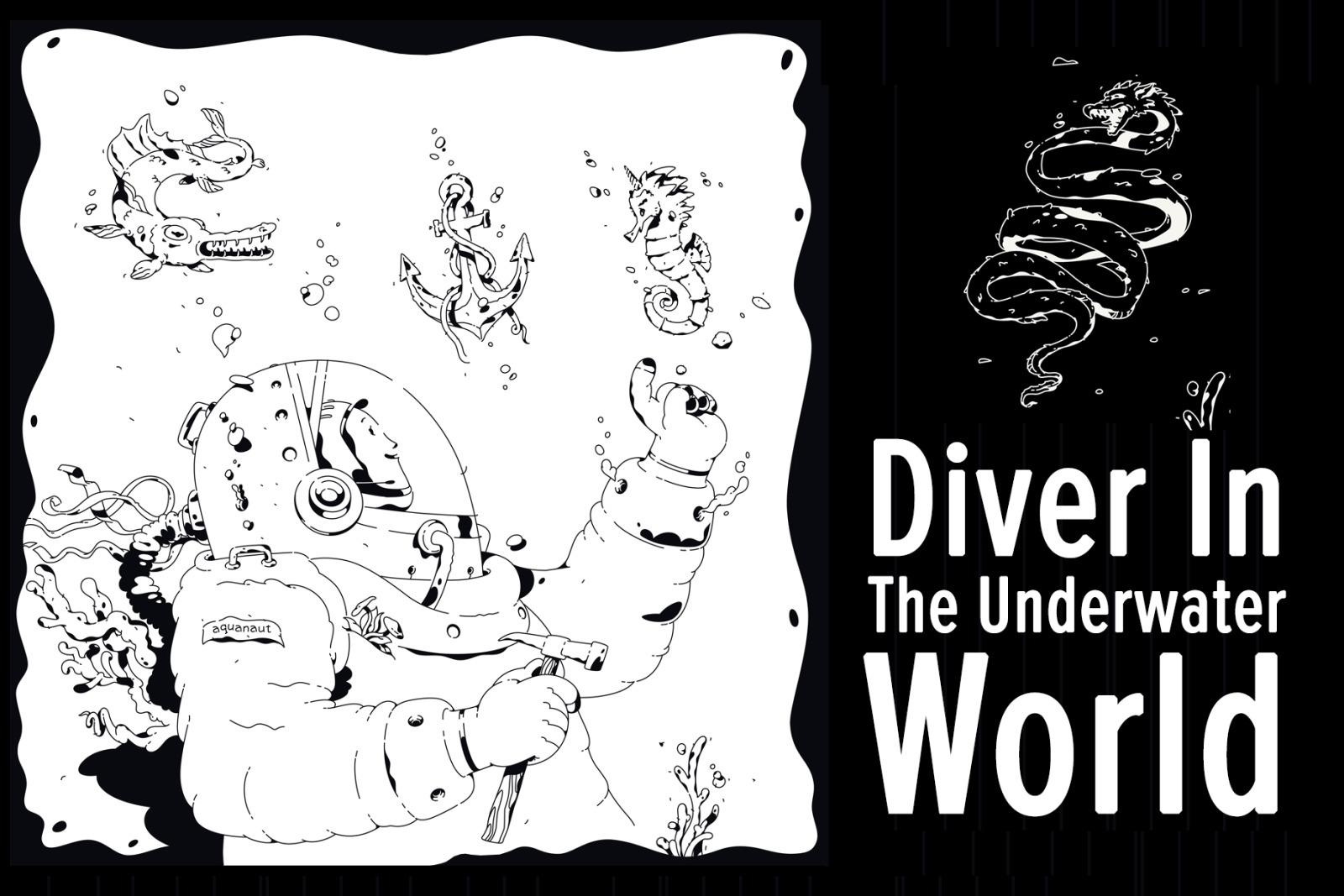 Illustration of a diver among underwater inhabitants