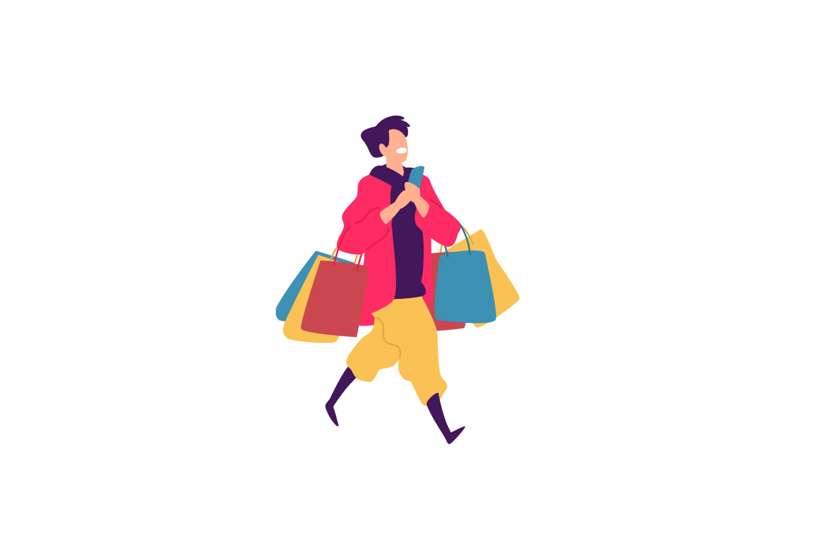 Illustrations of men and women with shopping