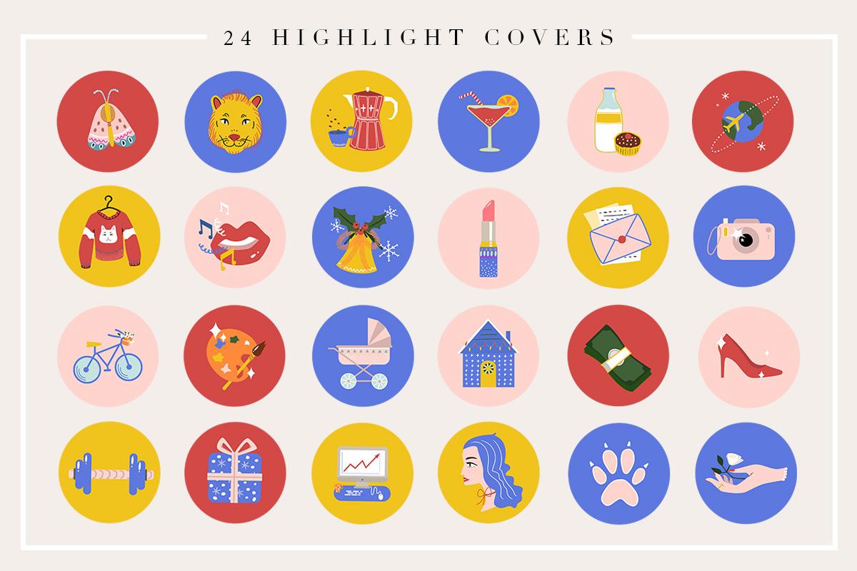 24 Cartoon Highlight Icon Set