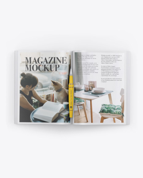 Textured Magazine Mockup In Stationery Mockups On Yellow Images