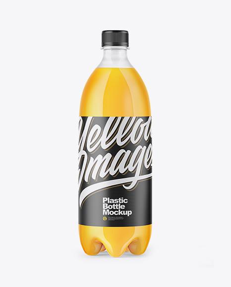 Clear PET Bottle with Orange Drink Mockup