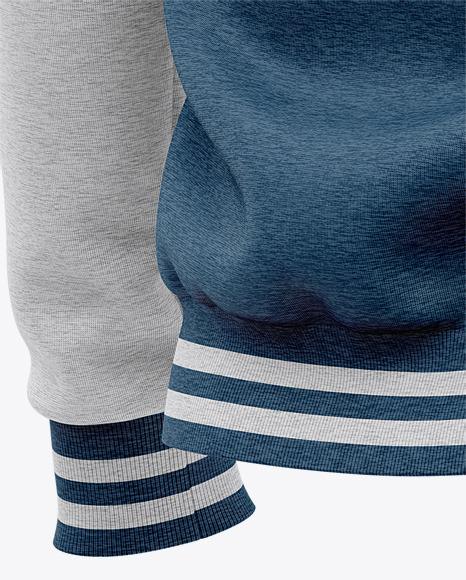 Heather Three Quarter Zipped Sweatshirt Mockup - Back Half Side View Of Zipped Pullover
