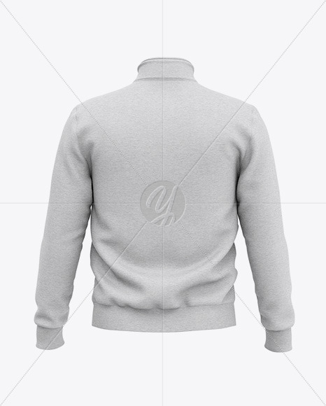 Heather Three Quarter Zipped Sweatshirt Mockup - Back View Of Zipped Pullover