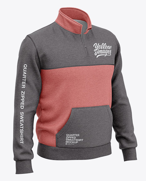 Heather Three Quarter Zipped Sweatshirt Mockup - Front Half Side View