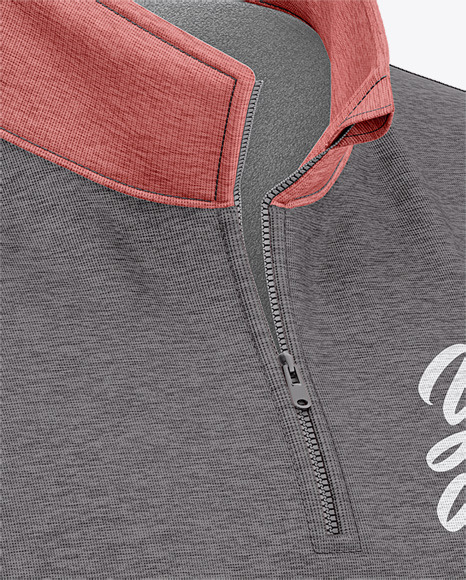 Heather Three Quarter Zipped Sweatshirt Mockup - Front Half Side View Of Zipped Pullover