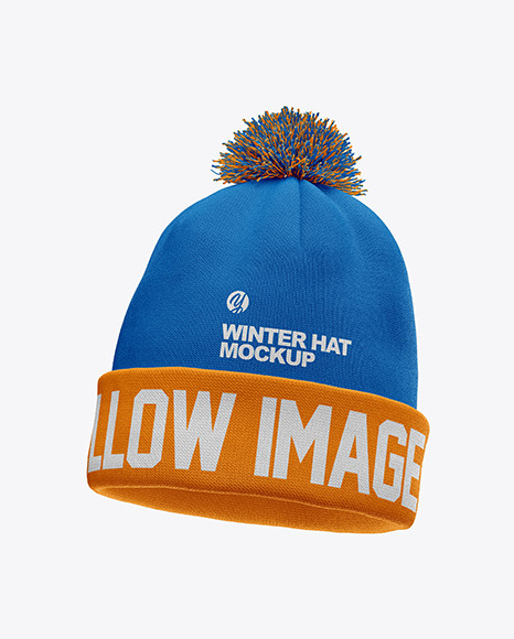 Winter Hat Mockup - Half Side View