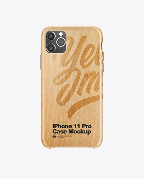 iPhone 11 Pro White Wooden Case Mockup