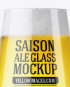 Stemmed Glass with Saison Ale Mockup