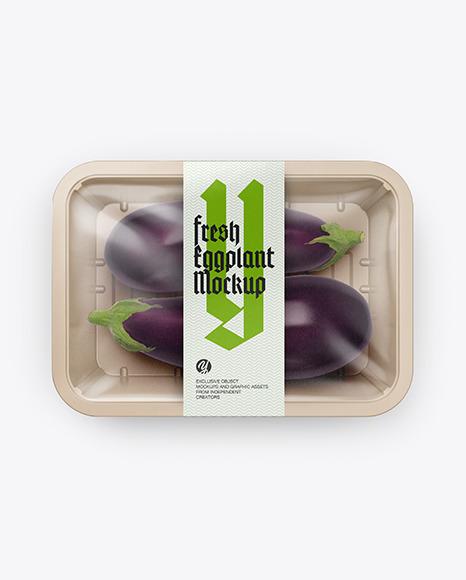 Plastic Tray With Eggplant Mockup
