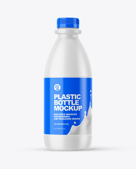 Dairy Bottle with Glossy Shrink Sleeve Mockup