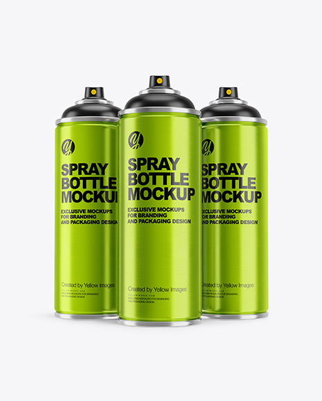 3 Metallic Spray Bottles Mockup