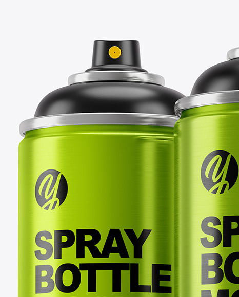 3 Metallic Spray Bottles Mockup