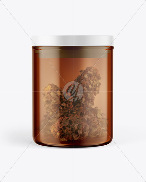 Amber Glass Jar w/ Weed Buds Mockup