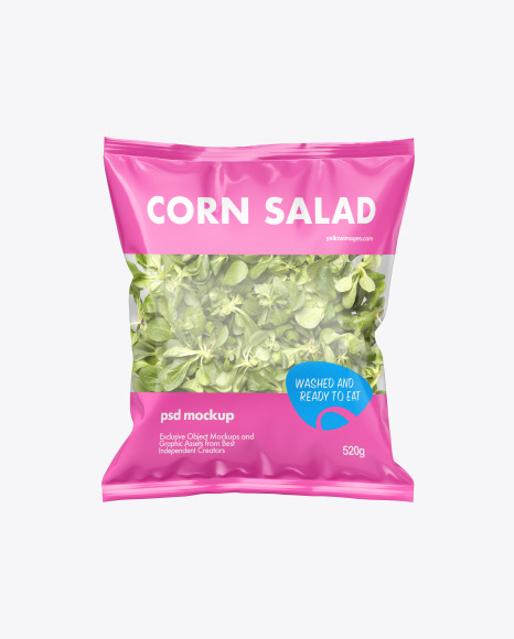 Plastic Bag With Salad Mockup