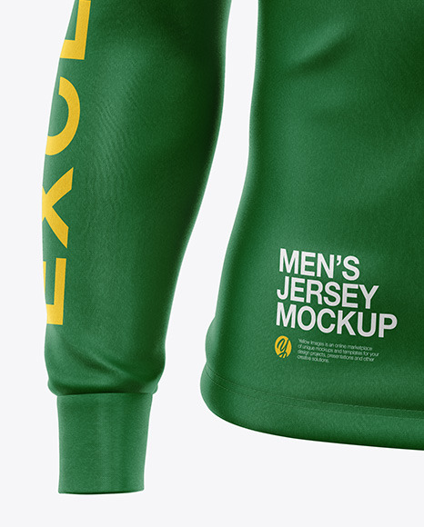 Men's Jersey With Long Sleeve Mockup - Front View