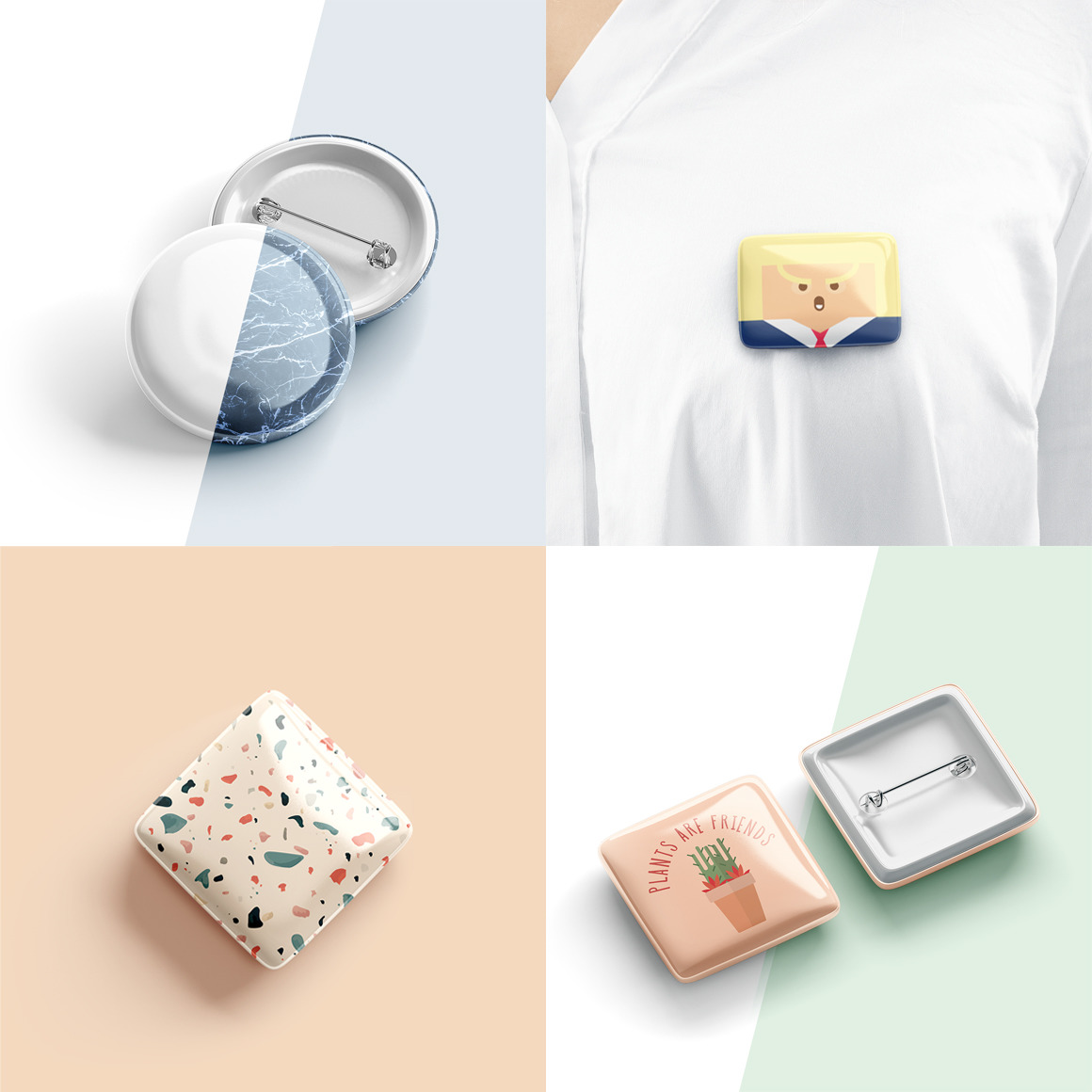 Button Badge Mockups Bundle
