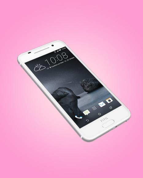 Opal Silver HTC A9 Phone Mockup