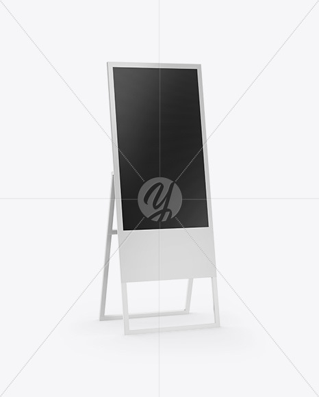 Digital Banner Stand Mockup - Half Side View