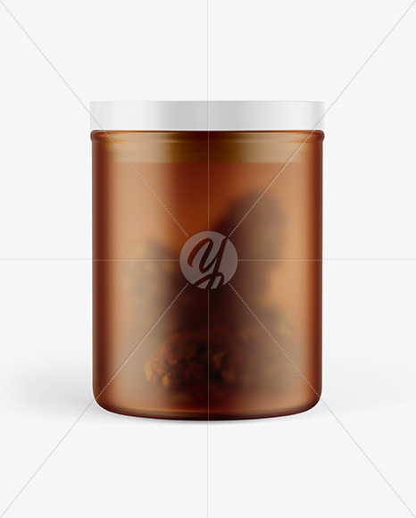 Frosted Amber Glass Jar w/ Weed Buds Mockup