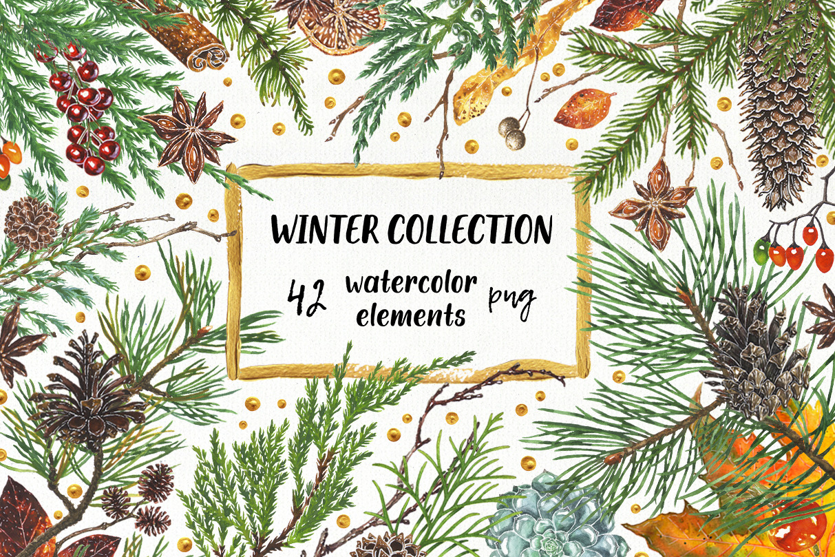 Winter Collection. Watercolor elements for greeting cards