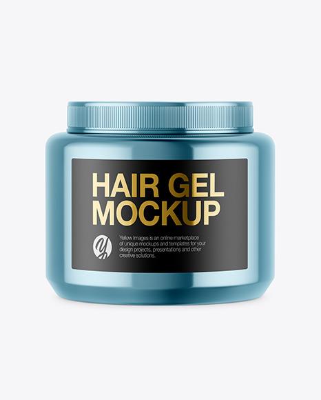 Glossy Metallic Hair Gel Jar Mockup