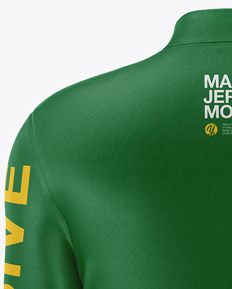 Men's Jersey With Long Sleeve Mockup - Back View