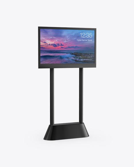 LED Digital Banner Stand Mockup - Half Side View